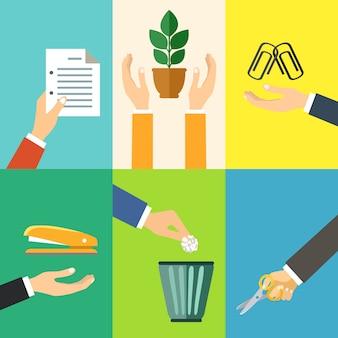 Los gestos de manos del negocio diseñan elementos de la ilustración aislada del vector del papel de la oficina de la grapadora del clip de papel