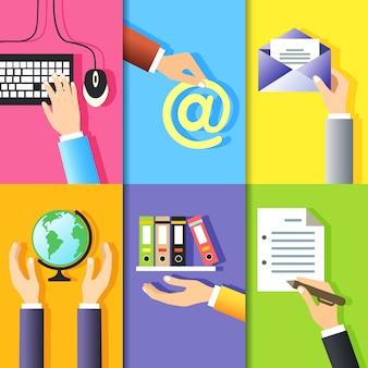 Los gestos de las manos del negocio diseñan elementos del ratón del teclado de la computadora y los signos aislados ilustración vectorial