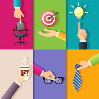 Los gestos de manos del negocio diseñan elementos de señalar en el ejemplo aislado bombilla del vector del tablero de dardos de la silla