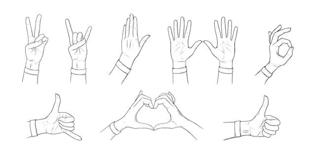 Gestos y signos habd. conjunto de bocetos con las manos. ilustración de contorno aislada en fondos blancos