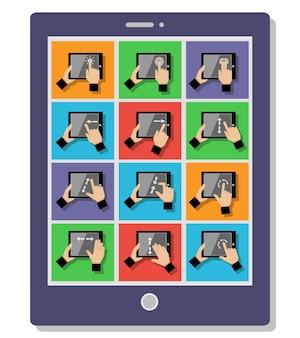 Gestos táctiles de tableta