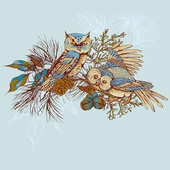 Ghristmas tarjeta de felicitación con búhos, abetos y conos de abeto