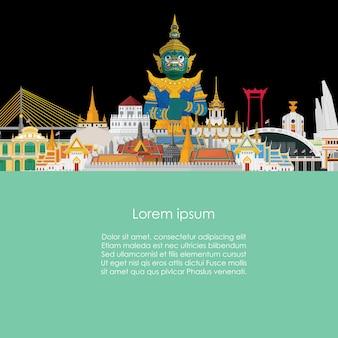 Gigante guardián en tailandia y el gran palacio de bangkok