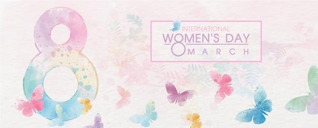 Gigante del número 8 con coloridas mariposas volando y redacción del evento del día de la mujer en el patrón de papel blanco y fondo colorido de la planta.