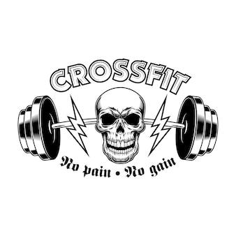 Gimnasio atlético. emblema de crossfit vintage, cráneo de culturista con barra