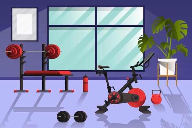 Gimnasio en casa con diferentes elementos de entrenamiento.