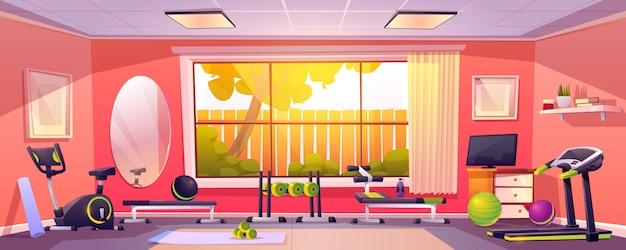 Gimnasio en casa, habitación vacía con equipamiento deportivo.