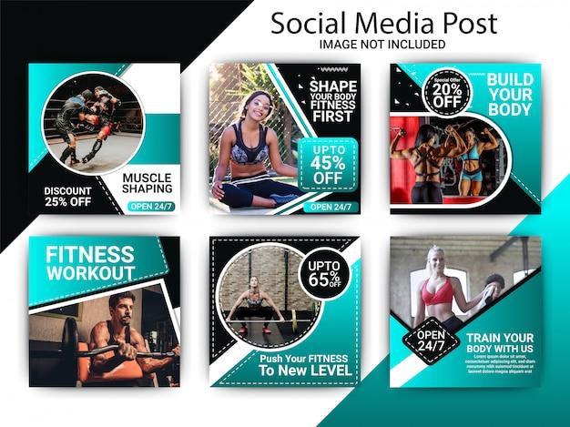 Gimnasio centro de fitness publicación en redes sociales