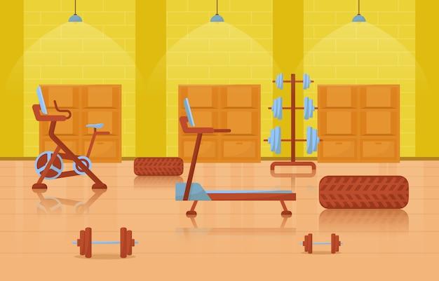 Gimnasio centro interior club deportivo fitness peso equipo de culturismo ilustración