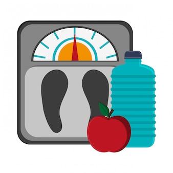 Gimnasio cuerpo grasa cuerpo botella de agua y manzana