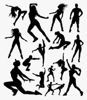 Gimnasio deporte silueta. buen uso del símbolo, logo, icono web, mascota, pegatina