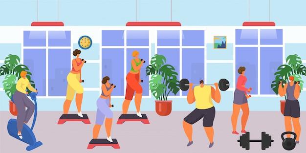Gimnasio para ejercicio físico y entrenamiento, ilustración. hombre mujer gente carácter entrenamiento deporte, estilo de vida saludable de dibujos animados.