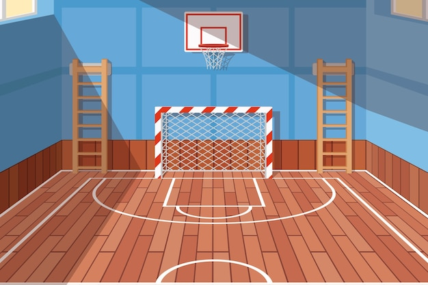 Gimnasio de la escuela o universidad. gimnasio para cancha de futbol y basquetbol, pabellón escolar, juego de piso. ilustración vectorial