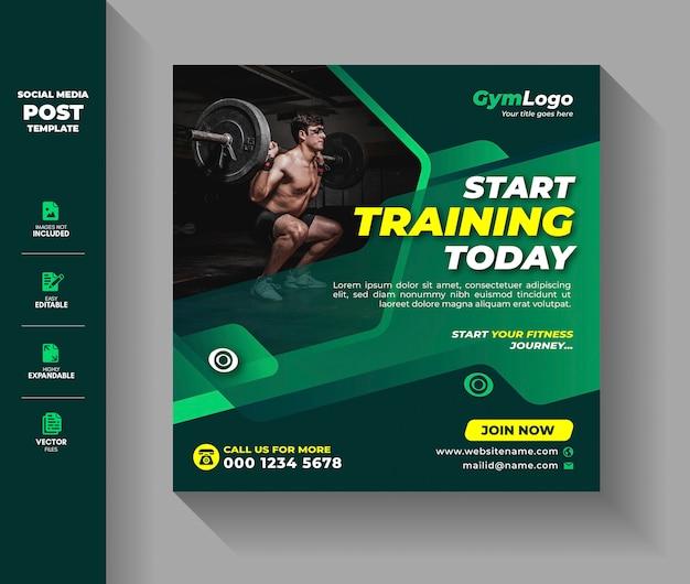 Gimnasio fitness ejercicio entrenamiento entrenamiento plantilla para publicación en redes sociales