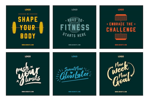 Gimnasio fitness motivación cita conjunto de publicaciones de redes sociales