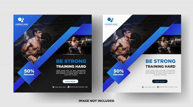 Gimnasio fitness promoción medios publicaciones sociales plantillas