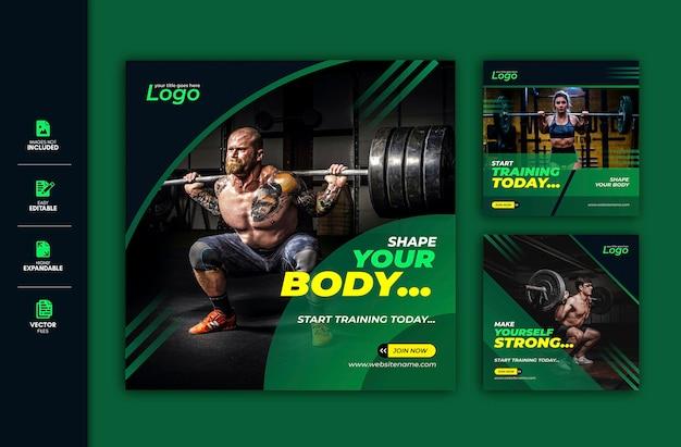 Gimnasio y fitness publicación en redes sociales facebook publicar instagram story template premium