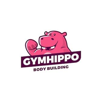 Gimnasio hipopótamo logo vector deporte ilustración emblema