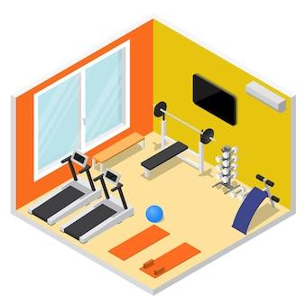 Gimnasio interior con vista isométrica de equipos de ejercicio para deporte, fitness