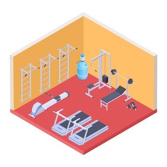 Gimnasio isométrico y equipamiento de fitness.