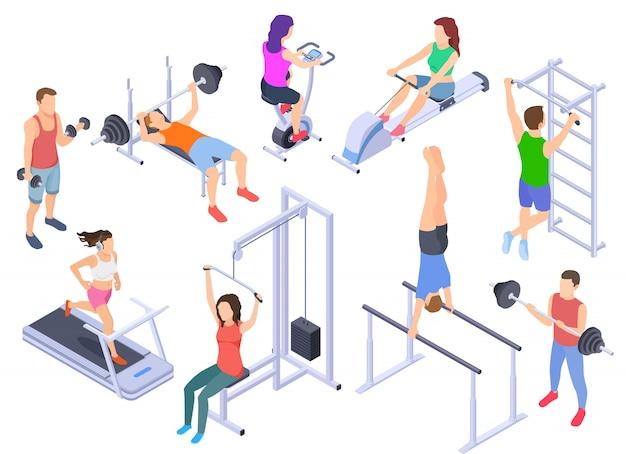 Gimnasio isométrico. fitness personas entrenamiento, ejercicio físico. joven entrenador humano, personajes de equipos deportivos