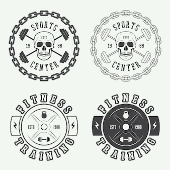 Gimnasio logotipos, etiquetas y distintivos.