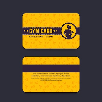 Gimnasio, plantilla de vector de tarjeta de gimnasio