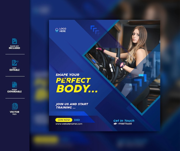 Gimnasio social media post template premium