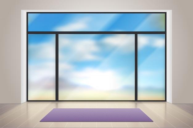 Gimnasio de vidrio. habitación realista con gran ventanal. interior de gimnasio de fitness vacío con alfombra de ejercicio y piso de madera ilustración