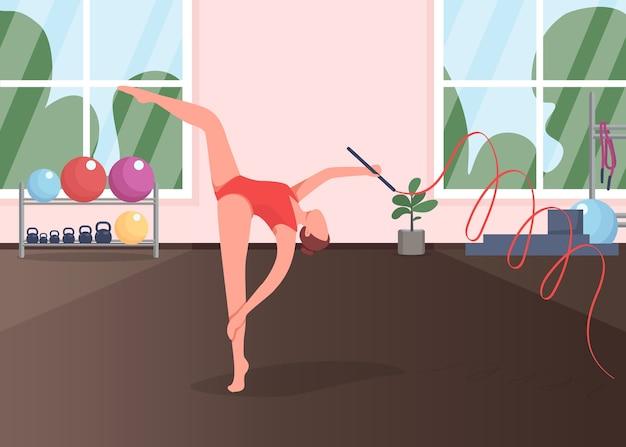 Gimnasta en la ilustración de color plano de estudio. acrobat ensayando baile. ejercicio de gimnasia. estilo de vida activo. entrenamiento de personajes de dibujos animados 2d deportista con gimnasio en el fondo