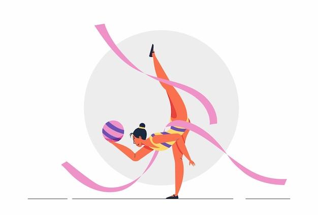 Gimnasta de niña atleta abstracto realizando elementos de gimnasia rítmica con bola, ilustración de cinta