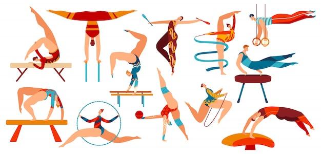 Gimnastas de personas, gimnasio de entrenamiento, posiciones y ejercicios de gimnasia deportiva, conjunto de ilustraciones de iconos de deportista femenino y masculino.