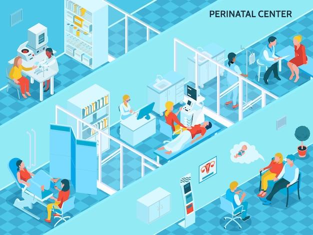 Ginecología y embarazo con símbolos del centro perinatal isométricos