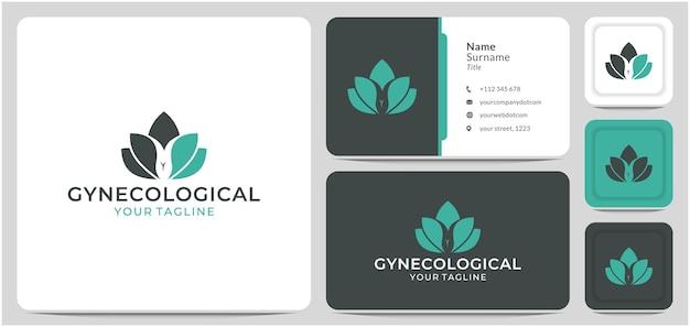 Ginecológico con lotus logo design vector cáncer reproductivo femenino