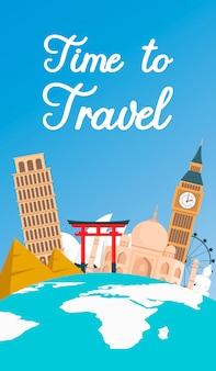 Gira mundial, volante de vacaciones en color plano, banner.