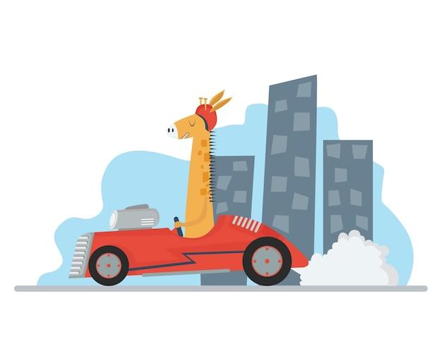 Girafa conduciendo un coche