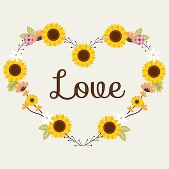 El girasol para corona de flores o anillo de flores parece un corazón en estilo vectorial plano.