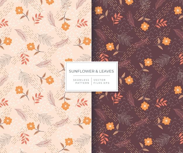 Girasol y hojas hermosas con patrones sin fisuras de estilo dibujado a mano