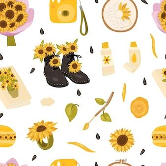 Girasol de patrones sin fisuras con ramo de flores, cámara, pinturas al óleo, pinceles, sobre de bordado de aro de macarrón de cuaderno