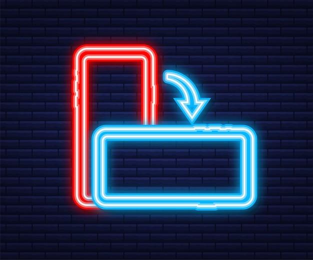 Gire el icono aislado del teléfono inteligente. icono de neón. símbolo de rotación del dispositivo. enciende tu dispositivo. ilustración vectorial.