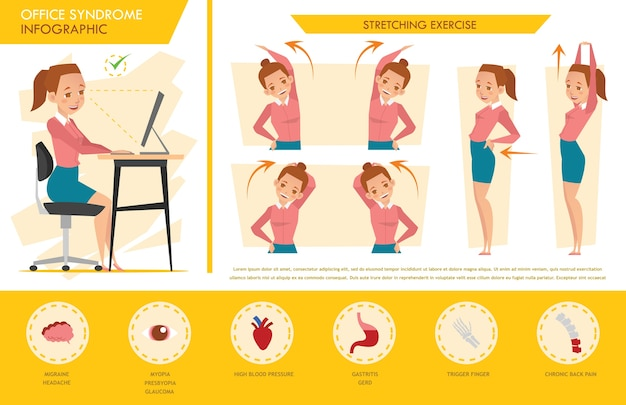 Girl office syndrome infographic y ejercicio de estiramiento