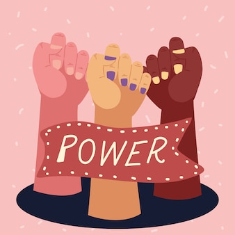 Girl power, diversidad femenina levantada manos y pancarta
