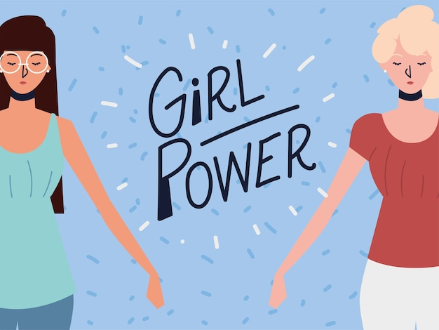 Girl power, dos mujeres fuertes personajes posando