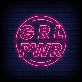Girl power letreros de neón