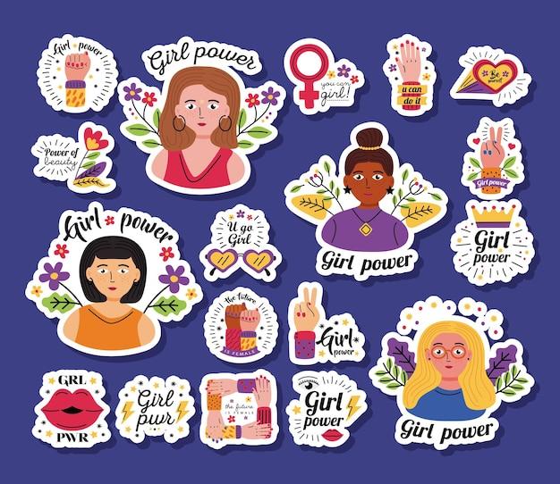 Girl power stickers icon set diseño de empoderamiento de la mujer feminismo femenino y derechos tema ilustración