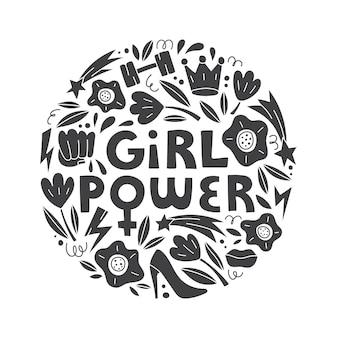 Girl power vector dibujado a mano letras con símbolos femeninos en el concepto de feminismo de estilo doodle