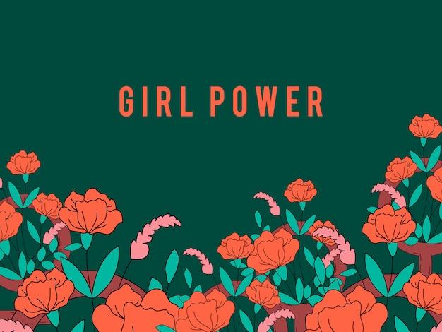 Girl power en vector de fondo floral