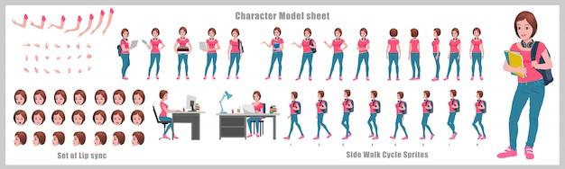 Girl student character design model sheet con animación de ciclo de caminata. diseño de personajes de niña. frontal, lateral, vista posterior y poses de animación explicativas. conjunto de caracteres con varias vistas y sincronización de labios