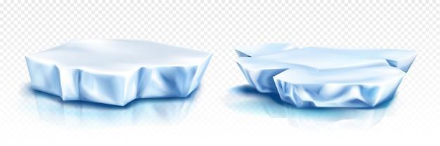 Glaciares, trozos de iceberg, bloques azules de hielo