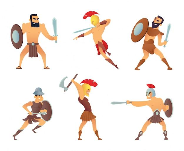 Gladiadores con espadas. luchando personajes en acción plantea.